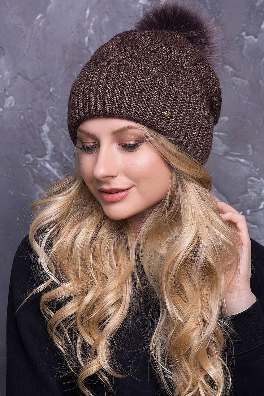 Какую шапку носить с курткой под светлый волос коричневая вязка с бубоном из меха