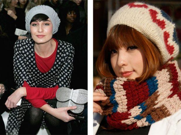 Какую шапку носить с курткой: для рыжих вязанный берет светлый с принтом