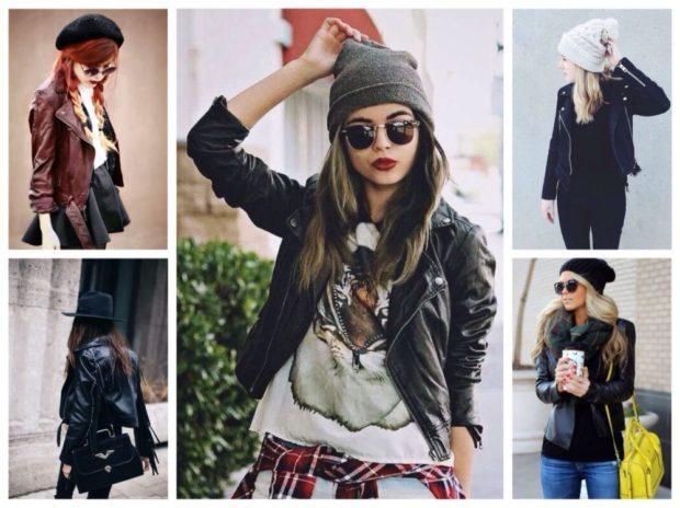 Какую шапку носить с курткой: под кожаную куртку берет шляпа вязанная
