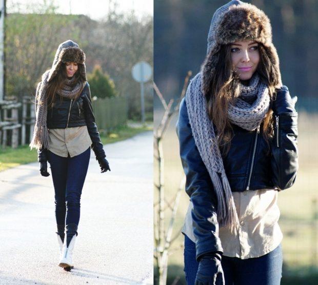 Какую шапку носить с курткой: под кожаную куртку ушанка
