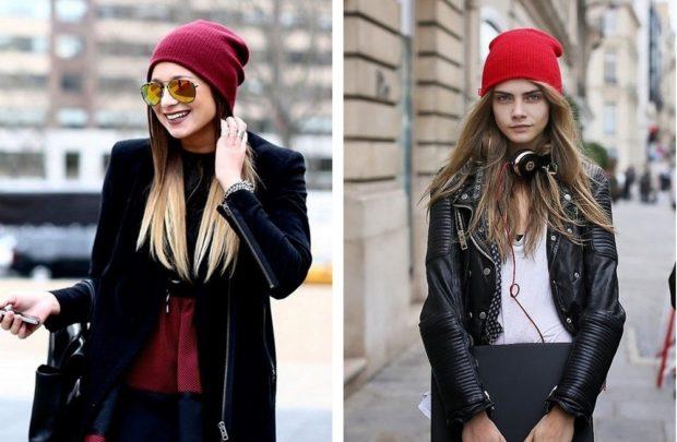 Какую шапку носить с курткой: под кожаную куртку вязанные красные