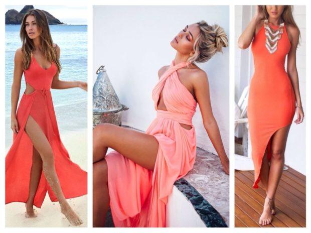 Коралловое платье с чем носить: с разрезами в пол