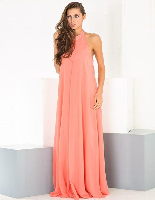 Коралловое платье с чем носить: шифоновое длинное нежный оттенок