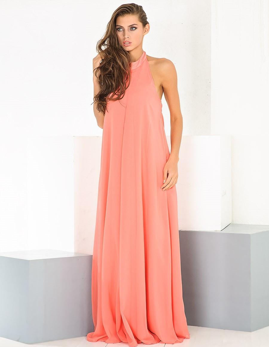 Коралловое платье с чем носить: шифоновое длинное нежный оттеное