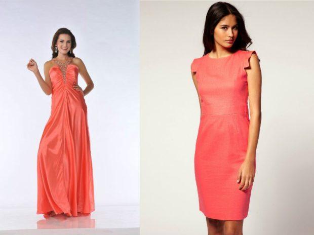 Коралловое платье с чем носить: длинное бюстье миди открытые плечи