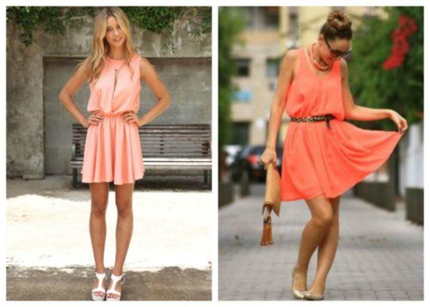 Коралловое платье с чем носить: короткие под низкий ход
