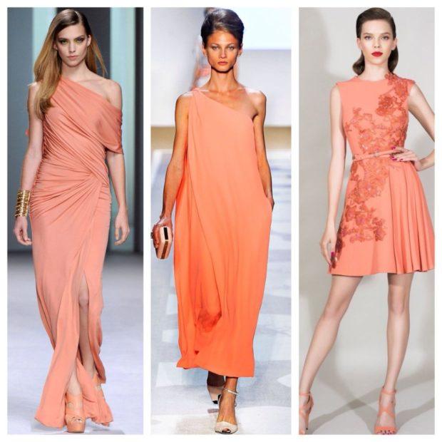 Коралловое платье с чем носить: длинные открытые плечи под каблук