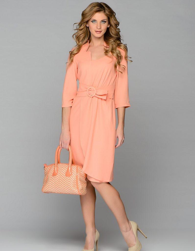 Коралловое платье с чем носить: светлое коралловое под пояс