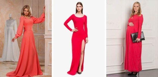 коралловые платья с чем носить: в пол с рукавами по каблук