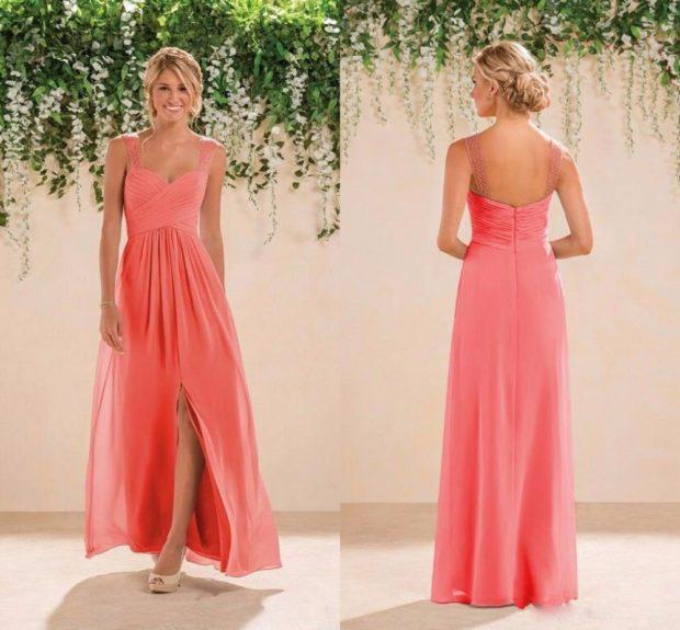 коралловые платья с чем носить: в пол с разрезом юбка шифоновая