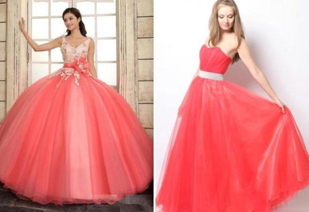коралловые платья с чем носить: в пол верх бюстье пышная юбка