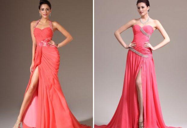 коралловые платья с чем носить: в пол с разрезом под каблук