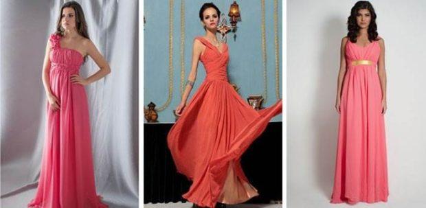 коралловые платья с чем носить: в пол под украшения прямые
