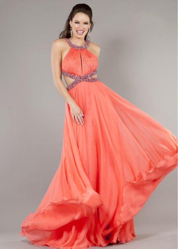 коралловые платья с чем носить: в пол юбка шифоновая с украшениями