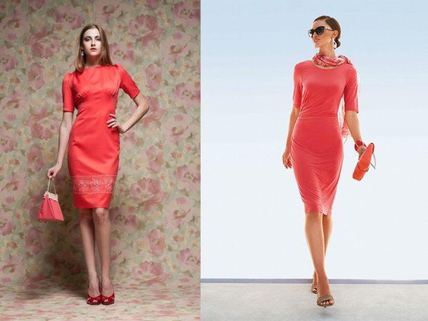 коралловые платья с чем носить: короткие сумки в цвет шарф шифоновый в цвет