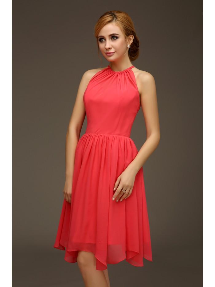 коралловые платья с чем носить: короткое шифоновое