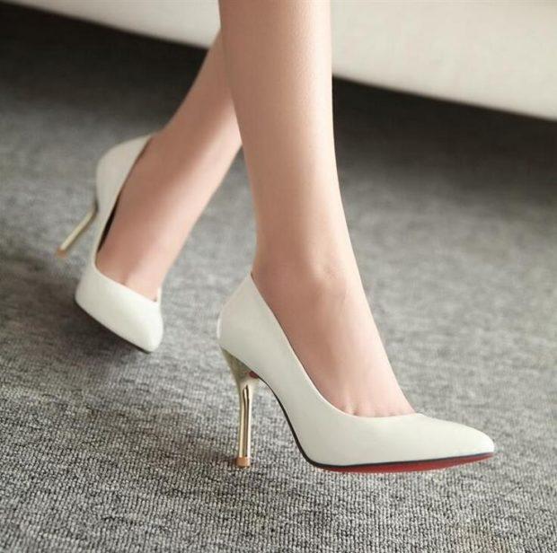туфли белые на шпильке лодочки