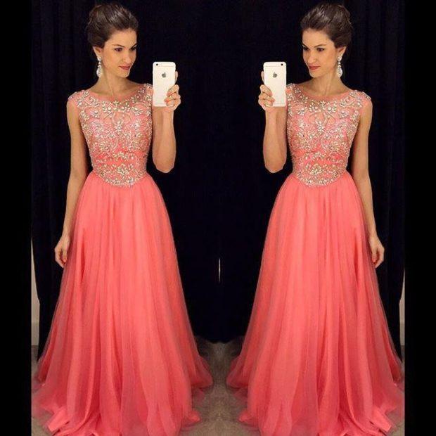 Коралловое платье с чем носить: пышная юбка в пол верх с серебром