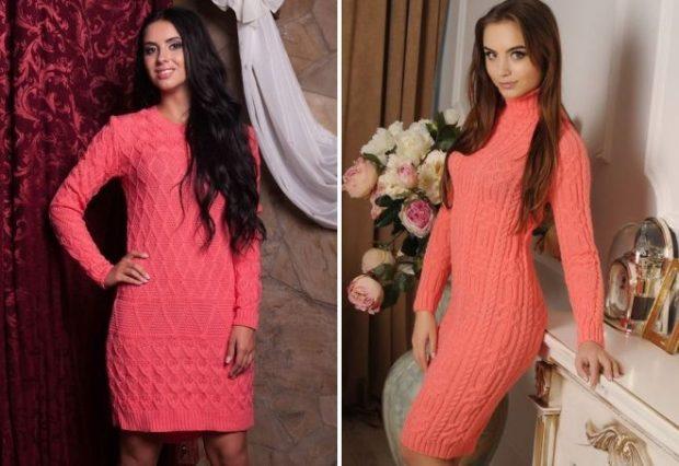 Коралловое платье с чем носить: короткие однотонные