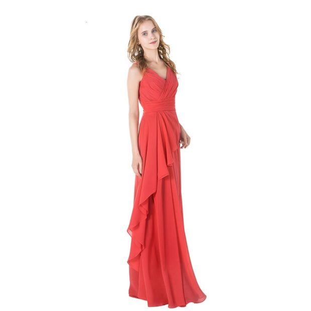 Коралловое платье с чем носить: длинное с воланами
