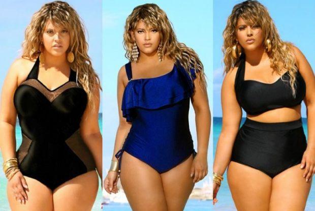 Купальники больших размеров для полных женщин: цельный черный синий черный с воланами раздельный черный