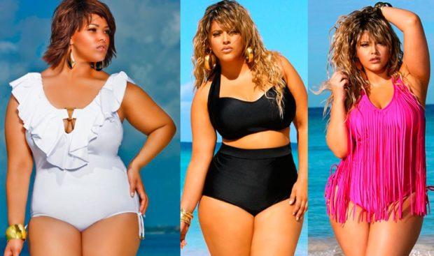 Купальники больших размеров для полных женщин: белый цельный черный раздельный розовый