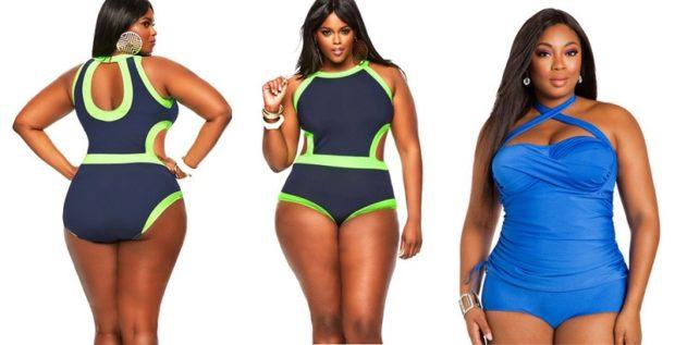 Купальники больших размеров для полных женщин: раздельный с салатовыми полосками голубой цельный