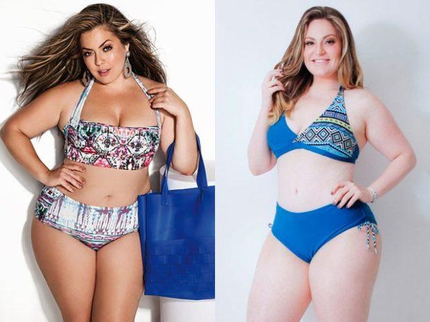 Купальники больших размеров для полных женщин: раздельный в цветы синий раздельный