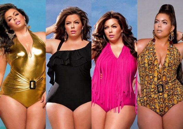 Купальники больших размеров для полных женщин: золотой черный розовый в принт