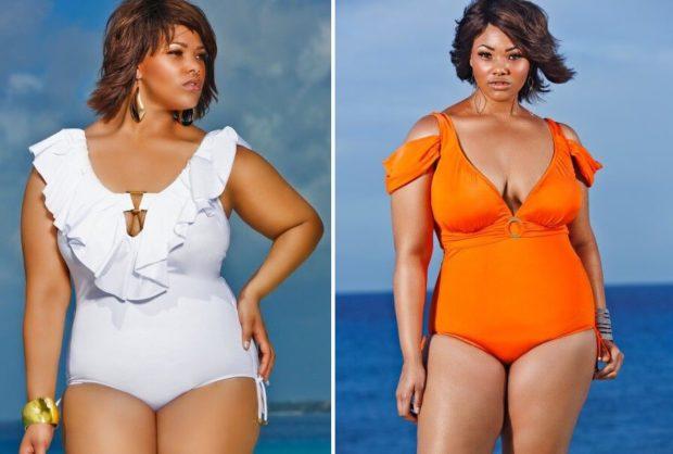 Купальники больших размеров для полных женщин: цельный белого и оранжевого цвета