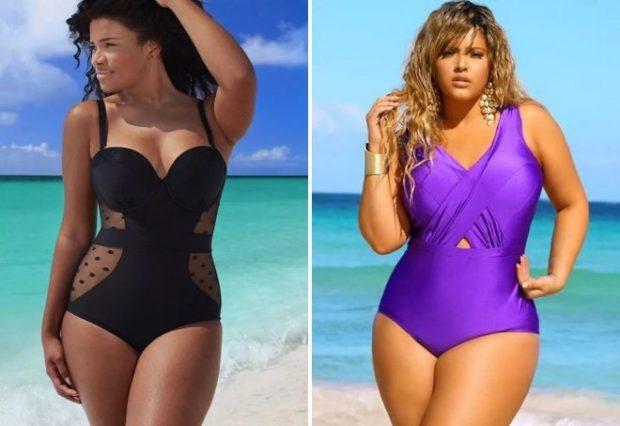 Купальники больших размеров для полных женщин:цельный черного и сиреневого цвета