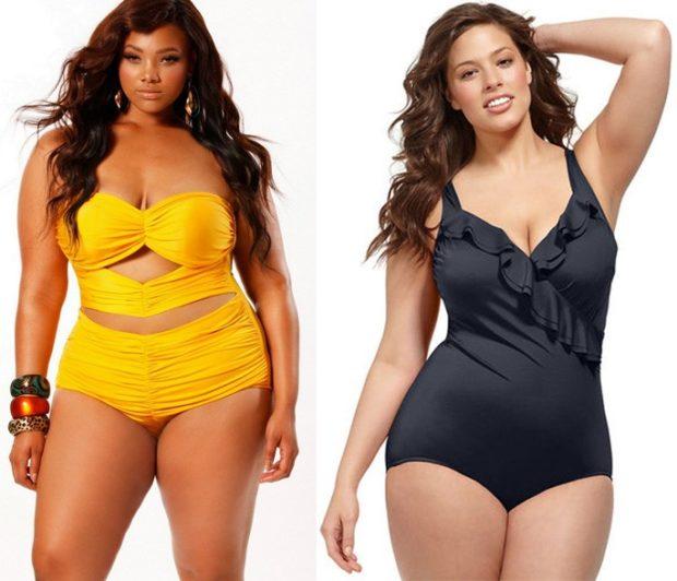 Купальники больших размеров для полных женщин:цельный желтого и черного цвета