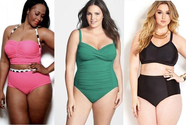 Купальники больших размеров для полных женщин: раздельный розового и черного цвета