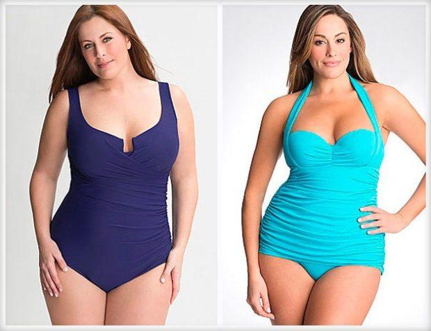 Купальники больших размеров для полных женщин: цельный синий и бирюзовый