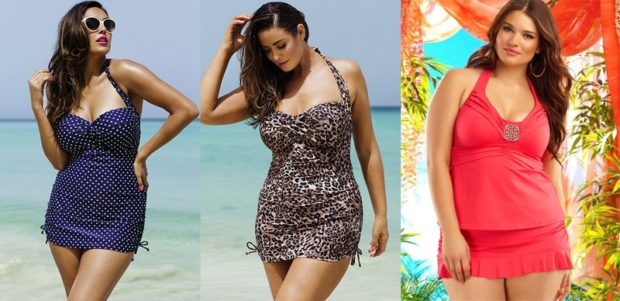 Купальники больших размеров для полных женщин: цельный в кружочек и в леопардовой расцветке