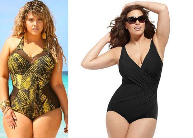 Купальники больших размеров для полных женщин: цельный в принт и черного цвета