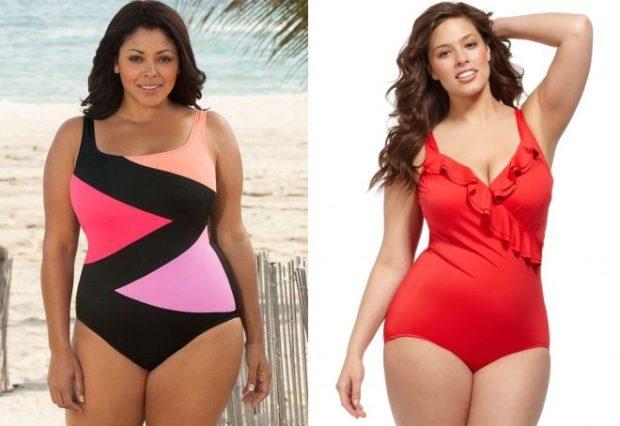Купальники больших размеров для полных женщин: цельный разноцветный и красный
