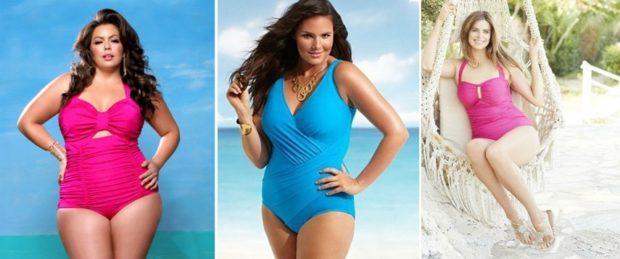 Купальники больших размеров для полных женщин:цельный фуксия и голубой цвет
