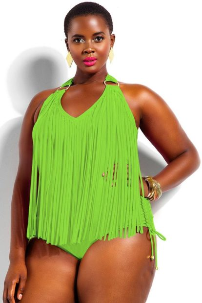 Купальники больших размеров для полных женщин: цельный с бахрамой зеленого цвета
