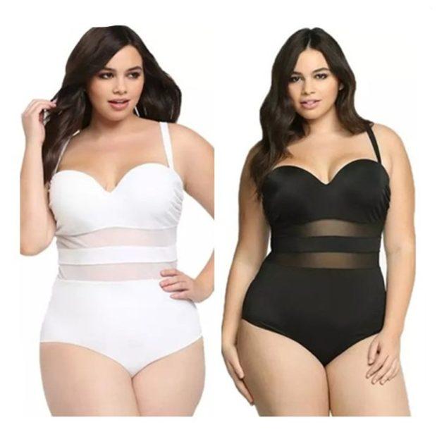 Купальники больших размеров для полных женщин: цельный белого и черного цвета