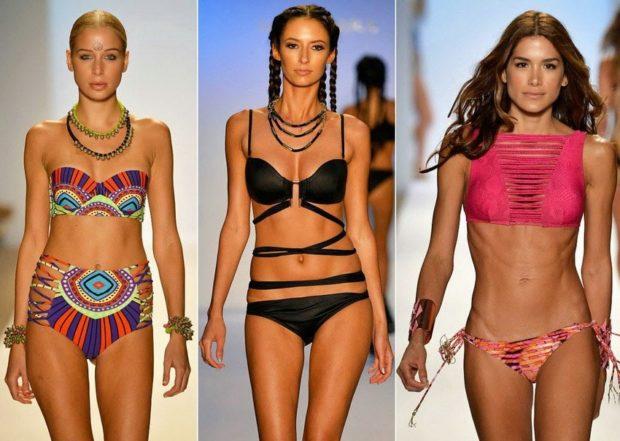 купальники 2022-2023 года модные тенденции фото раздельные в принт черный розовой