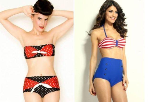Купальники модные тенденции: ретро черный с красным синий с красным в принт