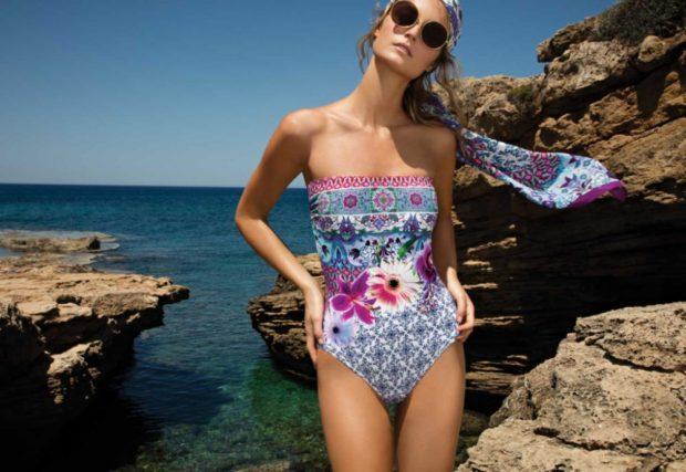 Купальники модные тенденции фото: ретро цельный цветной