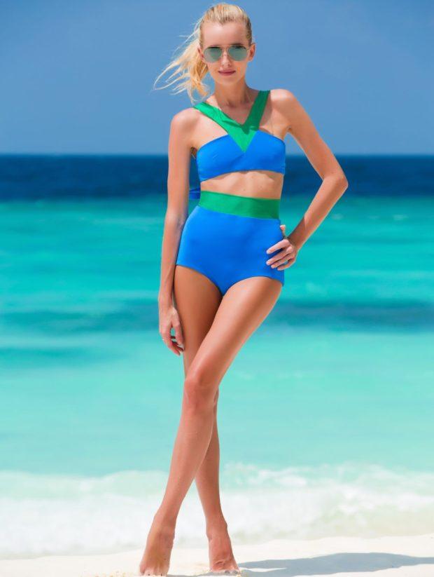 Купальники модные тенденции фото: ретро синий с зеленым высокие трусы