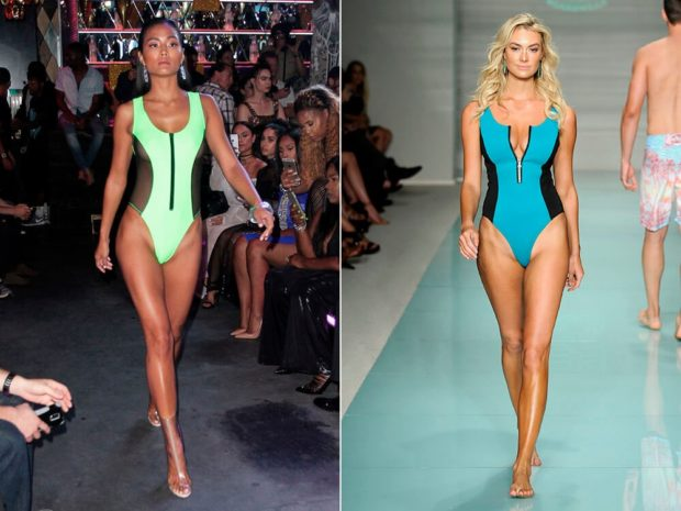 купальники 2022-2023 года спортивные цельные салатовые голубые модные тенденции фото