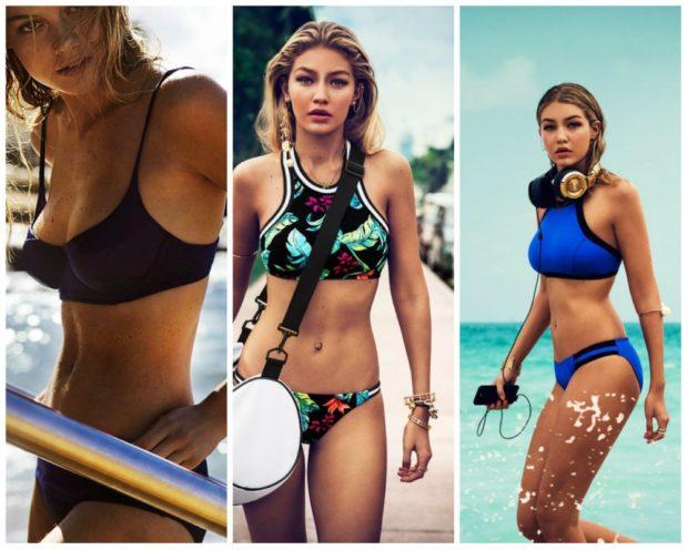 спортивные купальники раздельные черный в принт синий 2018 года модные тенденции фото