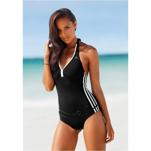 купальник 2022-2023 года модные тенденции фото, спортивный цельный черный с белыми полосками Адидас