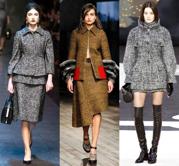 Луки осень-зима 2019-2020: пальто серое коричневое под юбки