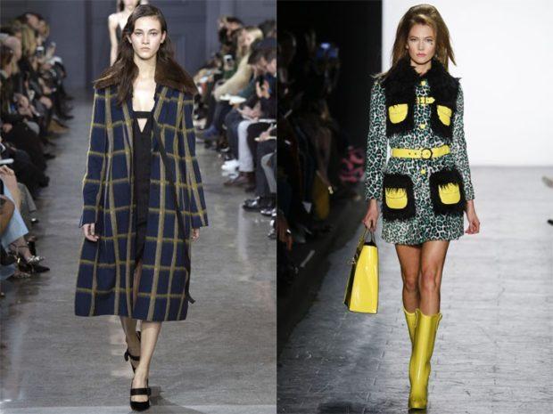 Луки осень-зима 2019-2020 пальто в клетку длинное короткое с карманами