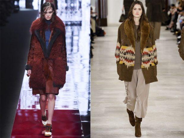 Луки осень-зима 2019-2020:пальто с мехом красное зеленое с принтом